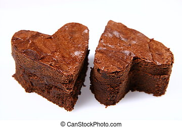 Heart shaped brownies - Two heart shaped slices of a brownie...