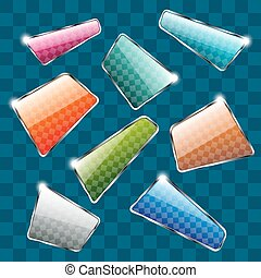 Set of colorful plates on abstract background. Vector...