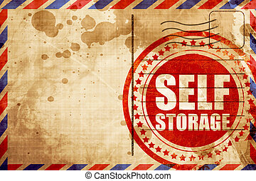 self storage, red grunge stamp on an airmail background -...