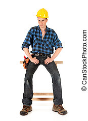 Sexy construction worker - Handsome Caucasian young sexy...