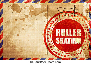 roller skating, red grunge stamp on an airmail background