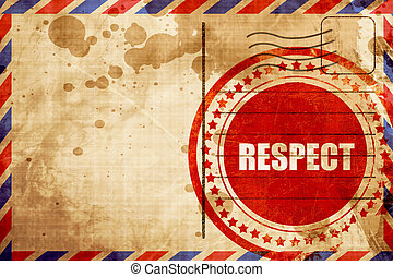 respect, red grunge stamp on an airmail background