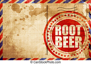 root beer, red grunge stamp on an airmail background