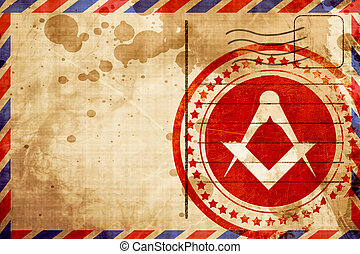 Masonic freemasonry symbol with some soft smooth lines, red...