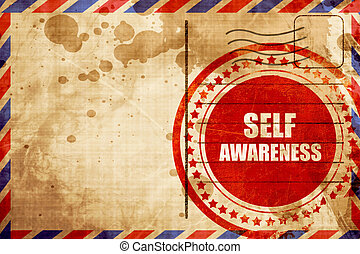 self awareness, red grunge stamp on an airmail background -...