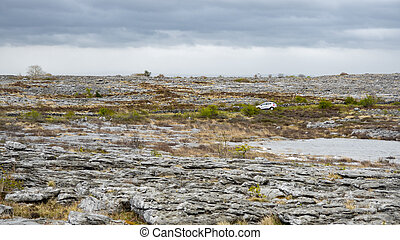 rugged landscape of Burren in Ireland - the rugged landscape...