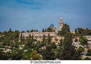 The Abbey of the Dormition building at mount zion in Jerusalem