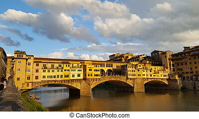 Ponte vecchio in Florence,Italy in the light of sunset