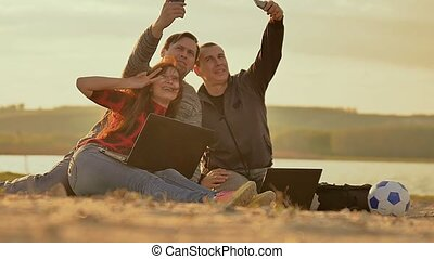 selfie pictures of three friends Slow motion video -...