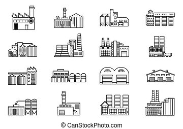 Industrial and manufacturing factory building Monochrome...