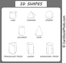 Vector 3d shapes.Educational poster for children. set of 3d...