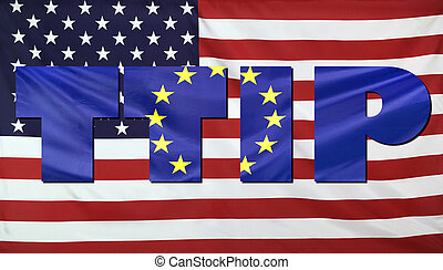 TTIP Concept USA and EU flags composition - Concept TTIP -...