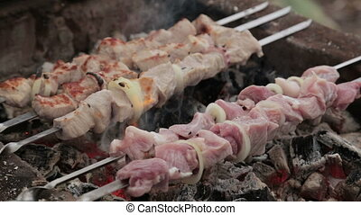 Shish kebab cooking on an outdoor grill