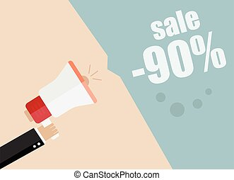 Sale Businessman hand holding a megaphone, News and speech...