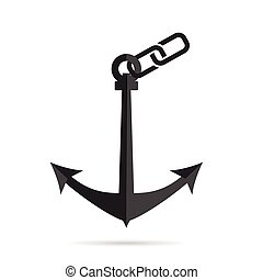 anchor with paperclip illustration on white