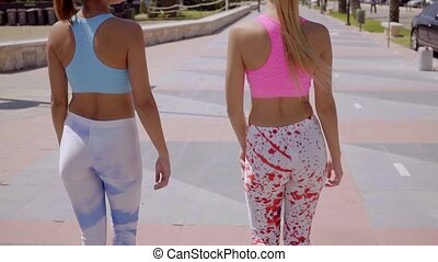 Rear view of two sexy shapely young women in colorful trendy...