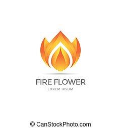 Fire flower symbol - Fire flower logo template. Flower...