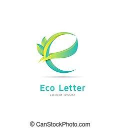 E letter eco logo - Letter E eco logo template. Green letter...