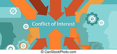 conflict of interest business management problem concept...