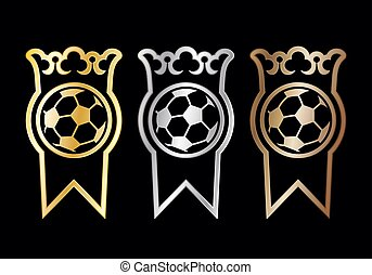 Football medals or award ribbons for winners with a crown...