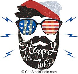 American cowboy. Vector illustration. july fourth - American...