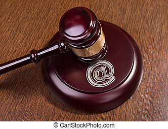 gavel and email, cybercrime concept