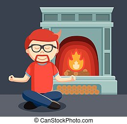 a man meditate in front of the fire