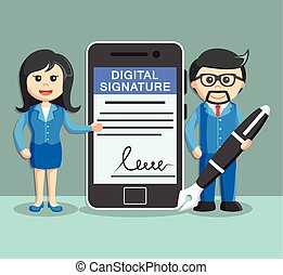 businesswoman businessman holding pen with digital signature
