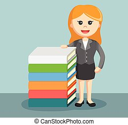 a businesswoman stand beside stack
