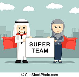 Businessman and businesswoman of arab holding super team...