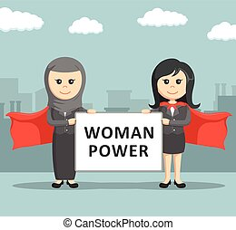 two business women super holding a woman super board