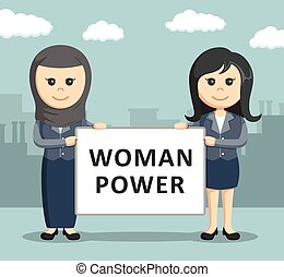 two businesswoman holding a board - two businesswoman...