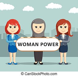 three female businesswoman was holding the woman power board