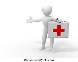Men with medical case. 3d