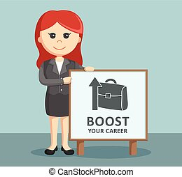 businesswoman holding boost career sign