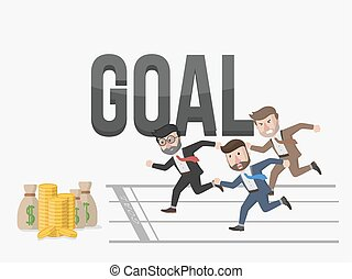 all businessman towards goal