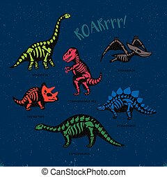 Adorable card with funny dinosaur skeletons in cartoon style...