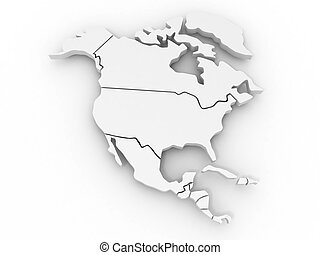 Map of northern america 3d