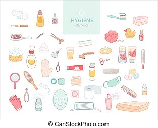 Hygiene elements - The set of hygiene elements on white...