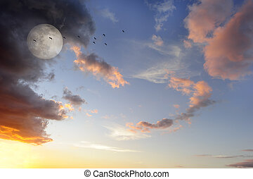 Moon Clouds Birds - Moon clouds birds is a vibrant surreal...