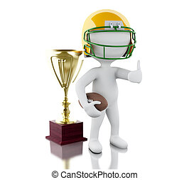 3d American football player with ball and trophy - 3d...