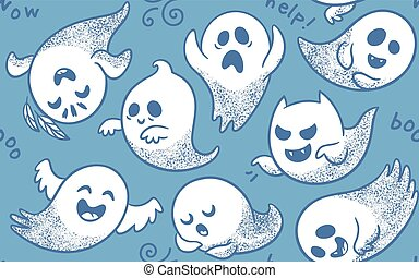 Seamless pattern of cute cartoon ghosts with different faces...