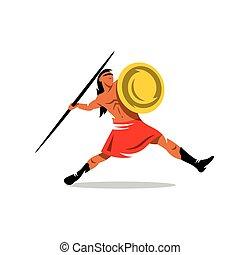 Vector Spartan Warrior Cartoon Illustration. - Gladiator...