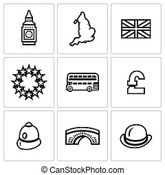 Vector Set of United Kingdom Icons. Tower, clock, territory,...