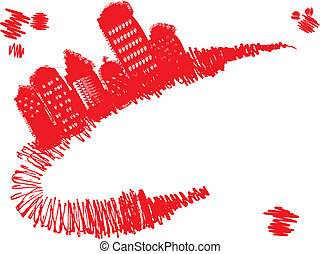 Grunge town stands on red grunge curve, vector illustration