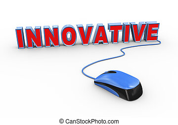 3d mouse attached to word text innovative