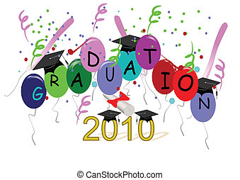 grad vector with mortar boards - grad illustration with...