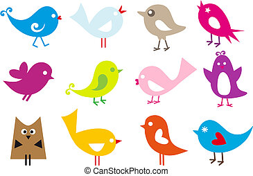 lovely birds - set of cute vector birds