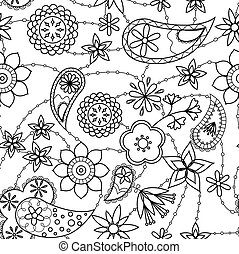 Flowers and paisley pattern coloring - Vector flowers and...
