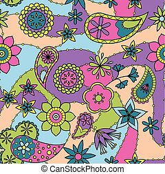 Flowers and paisley pattern colorful - Vector flowers and...